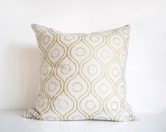 Ivory and gold pillow, metallic gold print on cream silk cushion cover, gold throw pillow cover via Etsy