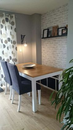 Ikea Bjursta table and Henriksdal chairs revamp with the addition of Kallax bench. Brick effects wallpaper