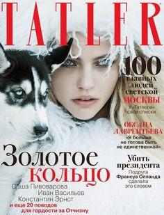 Tatler Rusia Diciembre 2014: Sasha Pivovarova by Mikael Jansson.