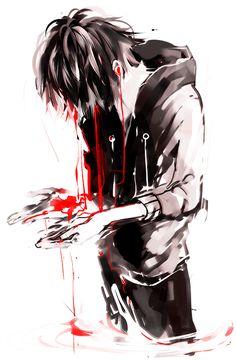 Bloody anime boy art