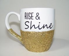 What a beautiful way to wake up every morning!    This sparkly ceramic Rise & Shine coffee mug will hold 15 oz. of your favorite coffee. I use a