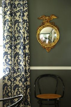 "Cassie's ""Moody Seascape"" Room - stormy gray, slate blue Ikat curtains, gold convex mirror"