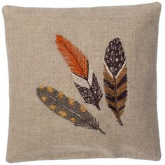 """Inspired by the quality of spirit that feathers have. These sachets can be used to scent your drawers, luggage, and much more! Embroidery on 100% linen. Filled with lavender. Spot clean. Measures 6""""x 6""""."""