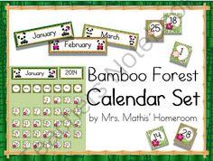 Bamboo Forest (Panda Theme) Class Calendar Essentials from Mrs. Classroom Hacks, New Classroom, Classroom Themes, Classroom Calendar, Preschool Rooms, Teacher Notebook, Theme Days, Classroom Environment, Months In A Year
