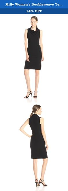 Milly Women's Doubleweave Tech Sleeveless Cowlneck Sheath Dress, Black, 4. Double weave Tech fabric from Spain. Our cowlneck sheath made of state of the art fabric gives this dress a beautiful luxurios feel. Beautiful seaming details hug the body for a perfect fit with cowlneck neckline.