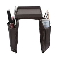 Amazon.com: PU Leather and Wood Remote Caddy,magazine Storage,trademark 8 Pocket Arm Rest Organizer with Table-top, Media Storage Tv Remote Controls ,Sofa Slipcovers Organizer - Drapes Neatly Over Sofa Arm ,Brown: Lemon: Home & Kitchen