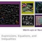 23 page powerpoint to use as bell-ringers or review of equations, expressions, and inequalities.  Over 60 problems that show students multiple vers...