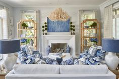 Monday blues after returning home from the 💙 Living room sponsored by our partners… Coastal Living Rooms, Formal Living Rooms, Home Living Room, Living Room Decor, Coastal Cottage, Coastal Homes, Blue And White Living Room, White Rooms, Les Hamptons