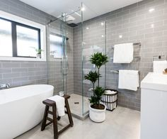 Emma And Courtney Bathroom Place) - Room Gallery - The Block NZ - Shows - Bathroom Tiles Images, Grey Bathroom Tiles, Bathroom Renos, Laundry In Bathroom, Small Bathroom, Grey Tiles, Master Bathroom, Bathroom Faucets, Bad Inspiration