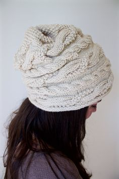 The ASPEN Slouchy Hat  Chunky Sideways Cable Knit by Songbyrdy