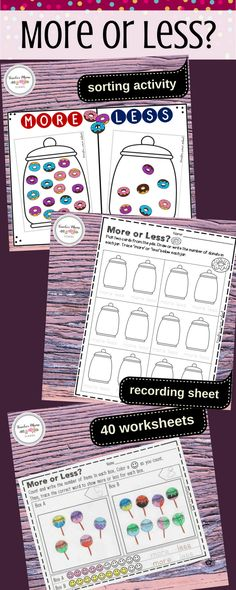 kindergarten math center | more less | A fun and engaging MINI BUNDLE pack to practice the concept of `More' and `Less'! Includes a sorting activity, recording sheet and 40 worksheets.