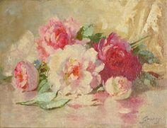Abbott Fuller Graves, Roses on a Table. Newly cut roses waiting for a new home in a pretty vase :)