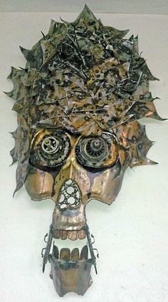 Handmade Original Metal Art Steampunk Skull by TheBeardedWelder