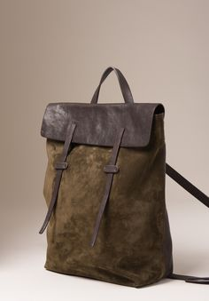 Leather Ziggy Derby Leather & Suede Book Bag in Olive