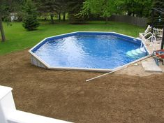 Resultado de imagen de above ground pool concrete – [pin_pinter_full_name] Above Ground Pool Landscaping, Backyard Pool Landscaping, Backyard Pool Designs, Landscaping Tips, Semi Above Ground Pool, In Ground Pools, Spas, Pool Deck Plans, Small Pools