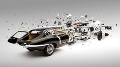 Exploding sports cars by Fabien Oefner. Classic sports cars appear to explode and disintegrate in this series of images by Swiss artist Fabien Oefner.