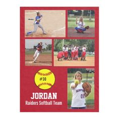 Personalized Softball 5 Photo Collage Name Team # Fleece Blanket