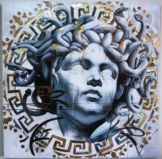 Medusa mixed with a cherub-like face Medusa Kunst, Medusa Art, Medusa Gorgon, Medusa Head, Medusa Tattoo Design, Greek Mythology Tattoos, Greek And Roman Mythology, Medusa Greek Mythology, Statue Tattoo