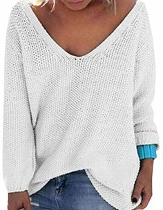 UGET Women's Casual Autumn V Neck Loose Knit Pullover Tops Sweater Jumper Asia L White