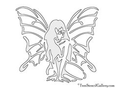 Fairy 01 Stencil | Free Stencil Gallery Halloween Pumpkin Stencils, Halloween Pumpkins, Paisley Coloring Pages, Record Crafts, Free Stencils, Silhouette, Fairy Doors, Scroll Saw Patterns, Kirigami