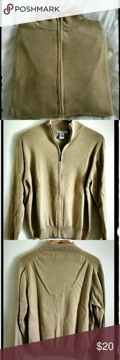 Geoffrey Beene ~ Long-sleeved Zip up Sweater Khaki/light beige in color. Great for work or out at play.  100%  Cotton. Machine washable, cold water, gentle cycle. Geoffrey Beene Shirts