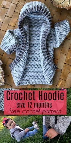 12 month crochet hoodie pattern For kids sweaters Cute baby hoodie Crochet Baby Sweaters, Crochet Hoodie, Crochet Mittens, Crochet Cardigan Pattern, Crochet Hats, Crochet Edgings, Sweater Patterns, Booties Crochet, Shawl Patterns