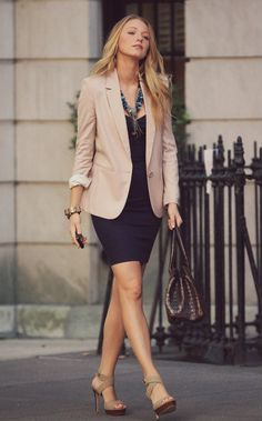 Simple dress, tan blazer, scarf or necklace and tan shoes
