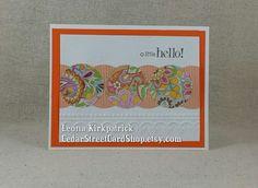 "Handmade Orange Paisley ""A Little Hello"" Tent Card by CedarStreetCardShop Handmade Greetings, Greeting Cards Handmade, Tent Cards, Your Cards, Paisley, Orange, Etsy, Hand Made Greeting Cards, Shawl"