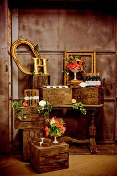 decorating with old wood crates / http://www.deerpearlflowers.com/country-wooden-crates-wedding-ideas/3/
