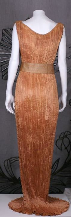 Mariano Fortuny Apricot  Delphos Gown | From a collection of rare vintage evening dresses at http://www.1stdibs.com/fashion/clothing/evening-dresses/