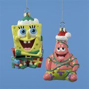 SpongeBob Squarepants & Patrick Star Glass Christmas Ornaments