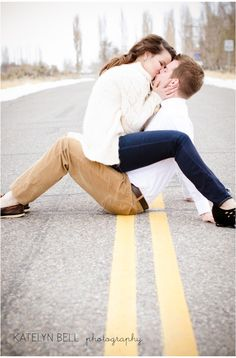 kissing in the road