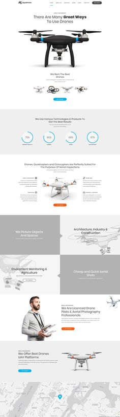 Drone Website Design Inspiration. Technology Product Site. WordPress Theme Template. Drone Hire. Product Sales.