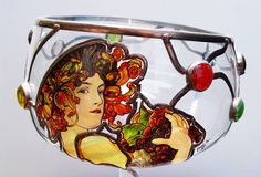 """14"""" x 7"""" (356 mm x 178 mm) Massive, glass, bright, hand-painted decorative vase, product of Czech glass factories. Precise copy of Mucha's artwork."""