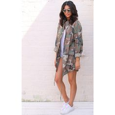One Nation Clothing Oversized Military Camo Festival Jacket in Khaki... (£55) ❤ liked on Polyvore featuring outerwear, jackets, green, green jacket, lightweight cotton jacket, lightweight military jacket, lightweight camo jacket and cotton jacket