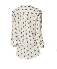 Horse Head Print Blouse with Studded Shoulders