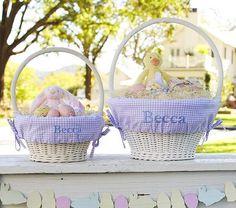 Lavender Gingham Easter Basket Liners #PotteryBarnKids