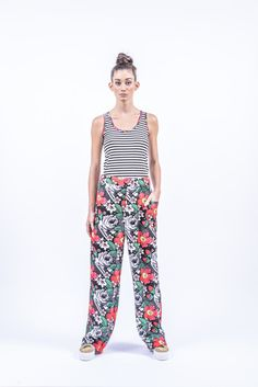 Romani Design, ss17, wanderers of the worlds, roma, gypsy, trausers, stripes, striped, floral, print, rose, roses, fashion, flower, flowers, outfit, spring, summer Parachute Pants, Gypsy, Pajama Pants, Pajamas, Stripes, Roses, Spring Summer, Outfits, Flowers