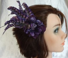 Bridal Hair Wedding Hair Purple Feather Fascinator by lovelygifts