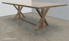 X-leg farmhouse table - free and easy plans from https://sawdustgirl.com.