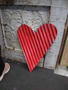 A corrugated metal heart for Valentines Day!