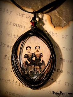 Macabre Tin Type Twins Wire Wrapped Pendant Necklace by PixeyMeat, $26.00
