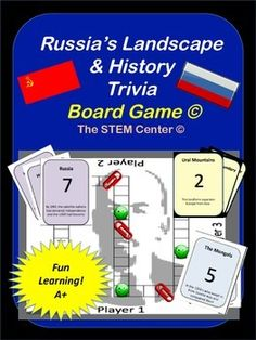 Geography - Russia's Landscape and History Trivia Board Game is best way for your students to learn or review Russia's Landscape and History.The game requires at least two players.  One player draws a card and reads the clue to the second player.  If the player answers correctly, he or she may move their game piece the number of places indicated.The topics focused on within the game include:* Ural Mountains* Time Zones* North European Plain* Shipping Ports* Steppe* Caucasus Mountains…