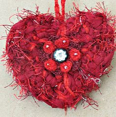 Valentines Day Decor Chiffon crochet Heart  by Simpleboutique1