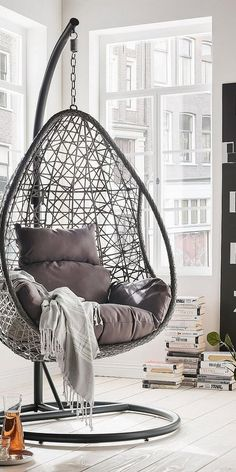 DESTINY hanging chair Coco Drop poly rattan / aluminum including seat and back cushions Hanging Egg Chair, Swinging Chair, Hanging Chair With Stand, Indoor Swing, Cute Room Decor, Aesthetic Room Decor, Cozy Room, Dream Rooms, Living Room Chairs