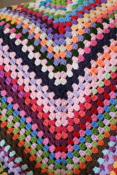 Giant Granny Square crochet blanket.