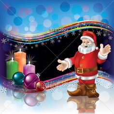 Abstract Christmas Background With Santa Decorations And Candles Stock Photo