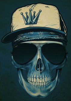 Skull Blue Hat by Russ Skull Artwork, Skull Drawings, Skull Wallpaper, Rat Fink, Chicano Art, Skull Face, Skull Fashion, Skull And Bones, Skull Art