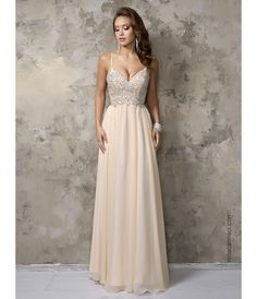 Champagne Chiffon V-Neck Embellished Long #Prom Dress