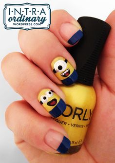 Nail Design Inspired by Despicable Me Minions - AllDayChic Nail Art Designs, Acrylic Nail Designs, Swag Nails, Fun Nails, Minion Nail Art, Jolie Nail Art, Latest Nail Art, Nail Candy, Super Nails